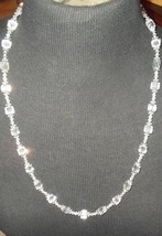 Mid Century Czech Art Deco Faceted Cut Crystal Beaded Necklace 14 GF  Cl... - $205.00