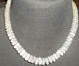 Mid Century Czech Art Deco Faceted Cut Crystal Beaded Necklace Silver Cl... - $235.00