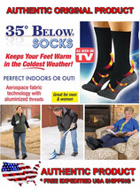 NEW 35 Below Socks 2 pair Black Size LARGE As Seen on TV FREE SHIP USA S... - $24.99