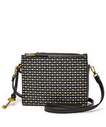 Fossil Campbell Black/Cream PVC Zipper Closure Cotton Interior Crossbody  - €212,93 EUR