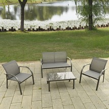 4 Pc Patio Furniture Outdoor Lawn Yard Sofa Chairs Coffee Table Garden S... - $174.95