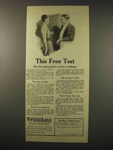1922 Pepsodent Toothpaste Ad - This Free Test - $14.99