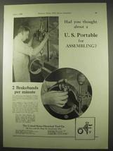 1922 United States Portable Electric Drill Ad - $14.99