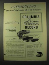 1948 Columbia LP Record Ad - Plays Up to 45 Minutes! - $14.99