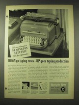 1948 Remington Rand Electric DeLuxe Typewriter Ad - $14.99