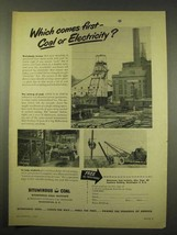 1949 Bituminous Coal Ad - Which Comes First? - $14.99