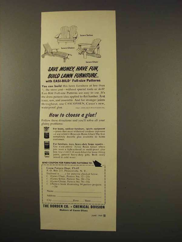1949 Borden Co. Chemical Division Cascophen Glue Ad - $14.99
