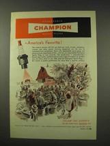 1949 Champion Spark Plugs Ad - America's Favorite - Farm - $14.99