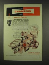 1949 Champion Spark Plugs Ad - America's Favorite - Boats - $14.99