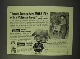 1949 Coleman Folding Camp Stove, Floodlight Lantern Ad - $14.99