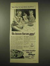 1949 Kellogg's Cereal Ad - Two Lessons From One Game - $14.99