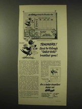 1949 Kellogg's Cereal Ad - Teachers Early-Bird Game - $14.99