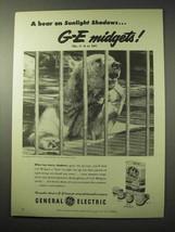 1950 General Electric Midget Flash Bulb Ad - A Bear - $14.99