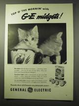 1950 General Electric Midget Flash Bulb Ad - Kitten - $14.99