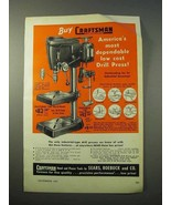 1951 Craftsman 100 Bench Model Drill Press Ad - $14.99