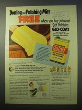 1951 Johnson's Glo-Coat Wax Ad - Dusting Polishing Mitt - $14.99