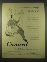 1954 Cunard Cruise Ad - Gracious Living At Best - $14.99