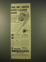 1954 Philips Philishave Dry Shaver Ad - Closer Shave - $14.99