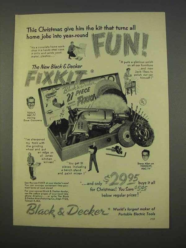 1955 Black & Decker Fixkit Tool Ad - Turn Jobs Into Fun - $14.99