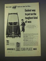 1955 Johnson's Car-Plate Wax Ad - Easiest To Put On - $14.99