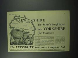 1960 Yorkshire Insurance Company Ad - Warwickshire - $14.99