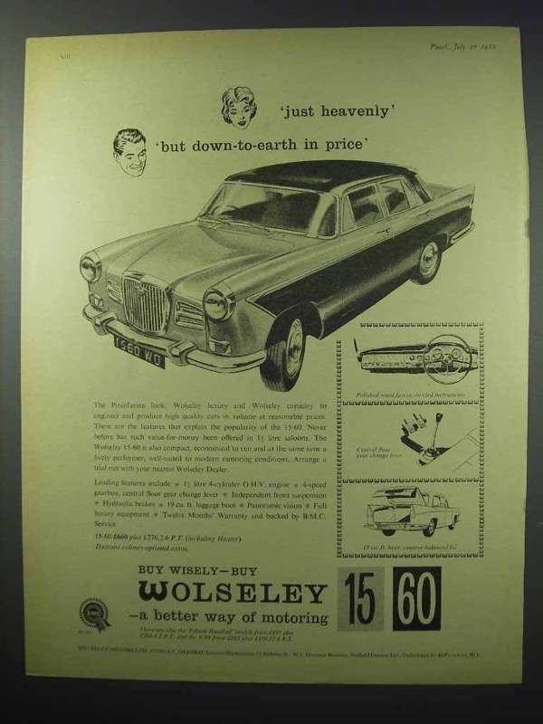 1960 Wolseley 15-60 Car Ad - Just Heavenly!