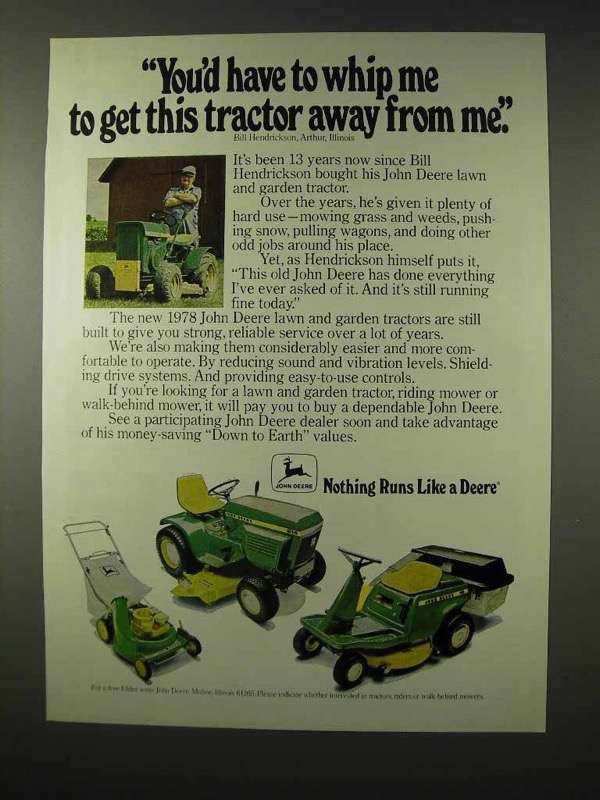 1978 John Deere Lawn and Garden Tractors Ad - Whip Me - $14.99