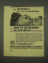 1956 South Dakota Tourism Ad - Mount Rushmore - $14.99