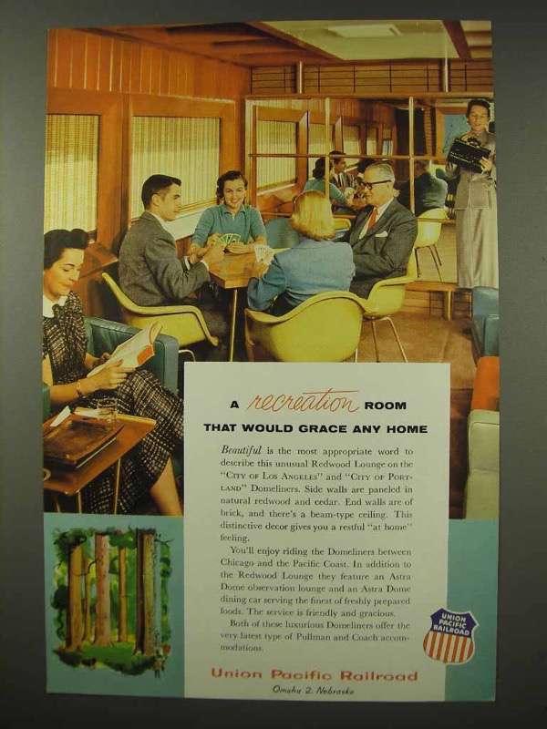 1956 Union Pacific Railroad Ad - A Recreation Room - $14.99