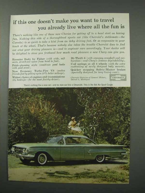 Primary image for 1960 Chevrolet Bel Air Sport Coupe Car Ad - Travel!