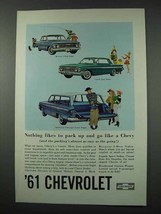 1961 Chevy Car Ad - Biscayne, Impala, Brookwood - $14.99