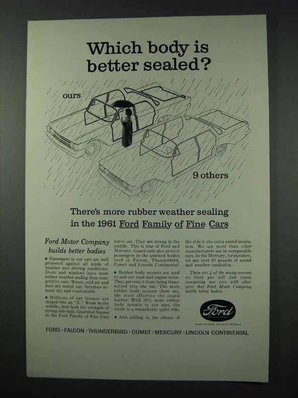Primary image for 1961 Ford Motor Company Ad - Body is Better Sealed
