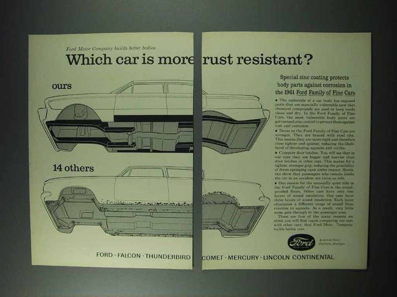 Primary image for 1961 Ford Motor Company Ad - More Rust Resistant