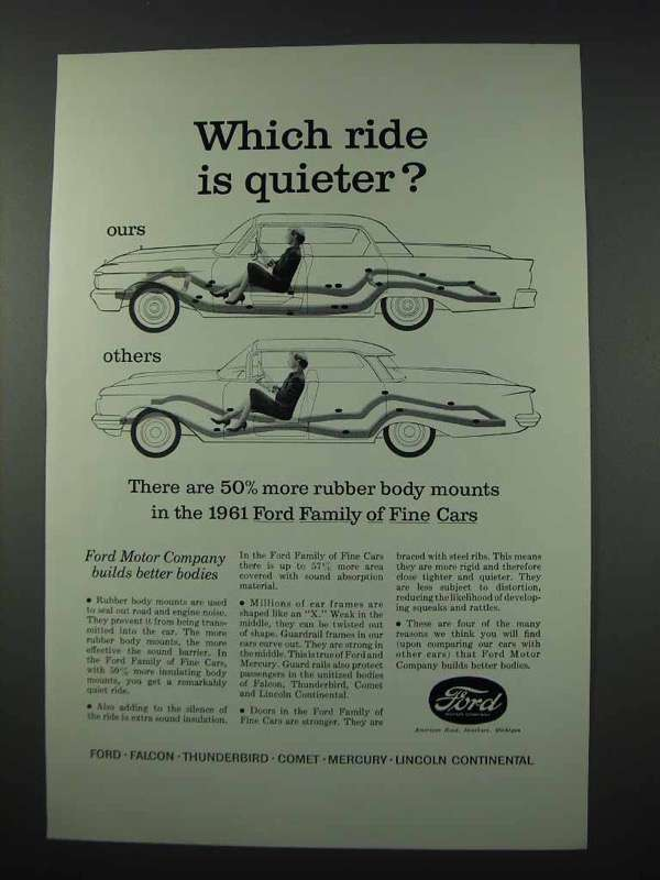 Primary image for 1961 Ford Motor Company Ad - Ride is Quieter