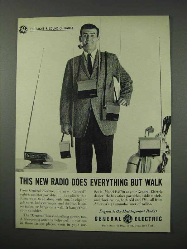 1961 General Electric Model P-870 Portable Radio Ad - $14.99