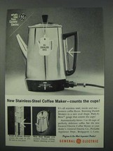 1961 General Electric Stainless-Steel Coffee Maker Ad - $14.99