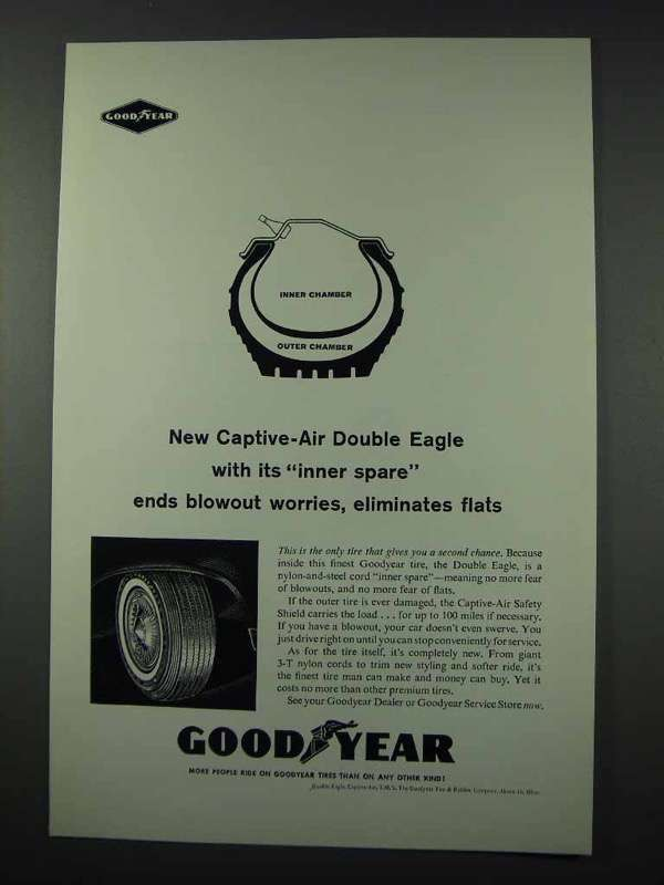 1961 Goodyear Captive-Air Double Eagle Tire Ad