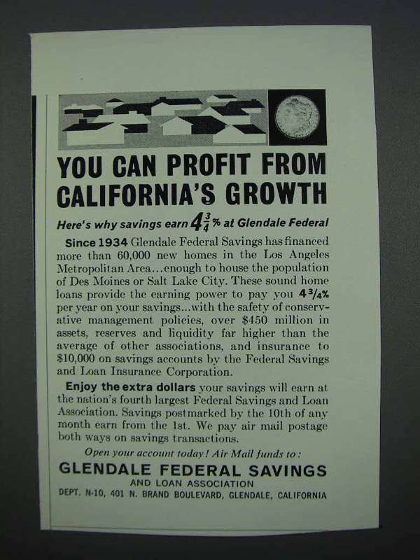 Primary image for 1962 Glendale Federal Savings Ad - You Can Profit