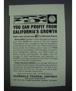 1962 Glendale Federal Savings Ad - You Can Profit - $14.99