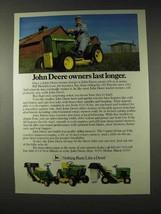 1982 John Deere Lawn Tractors Ad - Last Longer - $14.99
