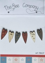 Assorted Heart Buttons (Patriotic) 6pcs wooden buttons The Bee Company  - $6.50