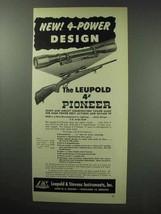 1950 Leupold 4x Pioneer Scope Ad - 4-Power Design - $14.99