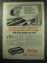 1950 Peters 222 Remington Cartridge Ad - High Velocity - $14.99