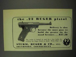 1950 Ruger .22 Pistol Ad - Delivery is Slow - $14.99