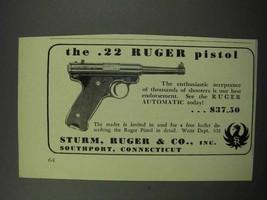 1950 Ruger .22 Pistol Ad - NICE - $14.99