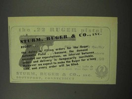 1950 Ruger .22 Pistol Ad - Regret - $14.99