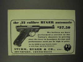 1950 Ruger .22 Calibre Ruger Automatic Pistol Ad - $14.99