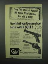 1952 Colt Gun Ad - Woodsman; Officers Revolver - $14.99
