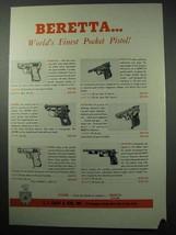 1956 Beretta Pistol Ad - Bantam, Plinker, Olympic - $14.99