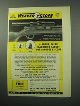 1956 Weaver B4 Scope Ad - Clear Magnified Target - $14.99